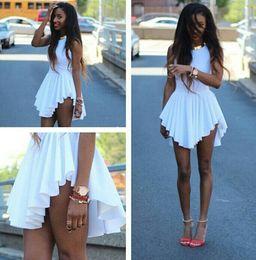 2016 Hot Fashion Women Mini Dresses White irregular pleated skirt New Summer Sleeveless Sexy Bodycon Party Dress Ladies Casual Dress PY4