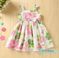 Casual Dresses Strapless A Line Wholesale 100% Cotton Baby girl print dresses brand floral girls dress children kids princess party clothing top quality