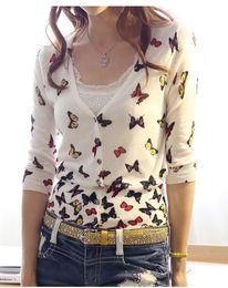 Wholesale HOT New Women Custom Fit Cardigans Sweater Knitted Sweater Women Butterfly Sweater HTZZS