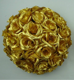 """New Arrival 12"""" 30 CM Gold Artificial Rose Silk Flower Kissing Balls Christmas Ornaments Birthday Wedding Party Decorations Supplies"""