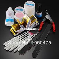 Nail Art Stamping Machine basic acrylic nails - Pro Nail Art Tips Design Acrylic UV Gel Builder Topcoat Cleanser Brush Sanding Basic Kit Set407
