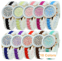 Sport Unisex Not Specified Wholesale - Hot Selling! New Fashion 10 Colors Women's Geneva Silicone Band Jelly Gel Quartz Analog Sports Wrist Watches 10pcs lot mix color