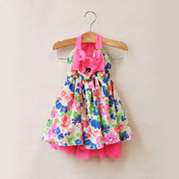 Wholesale 2014 New Girls Bohemian big bowknot flower Strapless Dresses Children s summer chiffon beach sling ruffles dress Foreign trade Kids Clothing