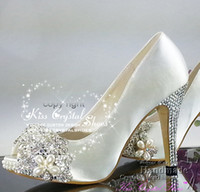 Wholesale HANDMADE WHITE PEEP TOE HIGH HEEL WOMENS SATIN WEDDING WOMEN SHOES WHITE LACE BRIDAL SHOES WITH SIER CRYSTAL FLOWER inches heels