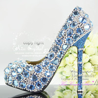 Wholesale Sky Blue Wedding Shoes and Silver Crystals Rhinestone Diamond Beaded Bridal Shoes Custom Design High Heels Women Shoes Blue