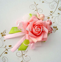 Wholesale Fashion PE Wrist Flowers Corsage Corsages Light Pink Bridesmaid Accessories in Wedding Decoration