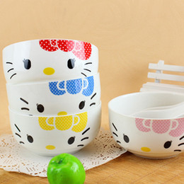 Wholesale Lovely Cartoon Cat MINI Ceramic Bowls and Spoons Baby Dinnerware Set Promotion Gift SH790