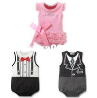 Unisex Summer Baby Wholesale-Free Shipping New Summer Arival Retail one Piece Cute Baby Bodysuit Girls boys suspenders bow tie Kids Newborn Baby Jumpsuit407