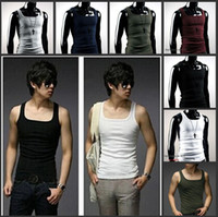 Wholesale M XL Summer Fashion Men Sport Fitness Vest T shirt Square Neck Rib Tank Tops High Flexibility Clothing