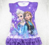 baby pictures cartoon - Hot Sale Summer Baby Girl Frozen Dress Cartoon Elsa Anna Princess Picture Children Homewear Dresses Pajamas Kids Cartoon Dress GX681