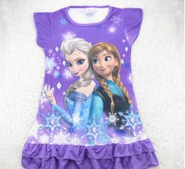 Wholesale Hot Sale Summer Baby Girl Frozen Dress Cartoon Elsa Anna Princess Picture Children Homewear Dresses Pajamas Kids Cartoon Dress GX681