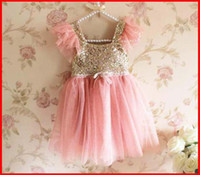 Wholesale 2014 New Fashion Kids Girls Summer Sequins Dresses Hot Sale Girl Short Sleeves Sequins Party Dresses Child TUTU Dresses pc melee
