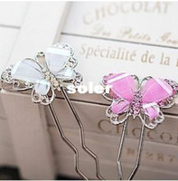 Wholesale ES131 Imitation alloy diamond hairpin Korean sweet lady butterfly shaped resin weathervane