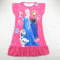 TuTu Summer A-Line Hot Sale ! Summer Children's Frozen Clothing Cartoon Elsa Anna Princess Picture Baby Girl Homewear Dresses Pajamas Kids Frozen Dress GX683
