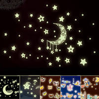 Removable glow in the dark stars - Mix Order Eco friendly PVC Fluorescent Luminous Wall Sticker Glow in the Dark Stars Decorative Wall Decal for Kids Rooms Decoration Wall Art