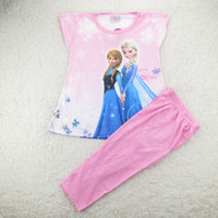 Cheap Hot Sale !Summer Children Frozen Pajamas Set Cartoon Elsa Anna Princess Baby Girl Pajamas Kids Homewear Suit Free Shiping GX686