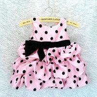 TuTu Summer other Wholesale- 6pcs lot girl dress children clothing baby polka dot dress girl princess dress for birthday party