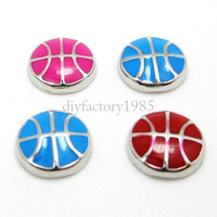 Slides, Sliders basketball necklace charms - 20pcs quot Basketball quot floating charms DIY charms for necklace bracelets fashion charms accessories glass Locket charms LSFC039