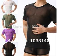Wholesale Mens Sexy Lace Sheer gauze short sleeve slim see through Summer Cool T shirt Exotic Sleepwear Undershirts male mesh shirts gay clothing