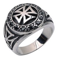 Wholesale FCATORY PRICE NEW HOT DESIGNvintage biker new arrival silver many stone biker cross stainless steel ring for man