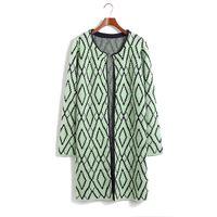 Women Pullover Regular 2014fall clubdress Korean Stylenanda Europe and America rhombus Long Slim plaid sweater cardigan sweater