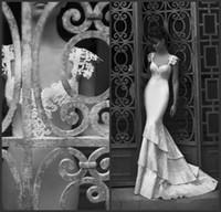Wholesale 2014 Custom Made Sexy Mermaid Berta Bridal Gowns Cap Sleeve Backless Appliques Embroidery Sweep Train Satin Elegant Wedding Dresses White