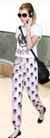 Women Pullover Scoop Neck 2014 New Arrival Korea Summer Women 2pcs Sets Suit Cartoon Cat Round Neck Casual Harem Pants Clothing Short SleeveTops Clothing E0185