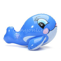 Unisex 0-12M Plastic Lovely PVC Animal Inflatable Air-Filled Swimming Pool Shower Bule Whale Toys For Baby Children Kids Boy Girl Birthday Gift