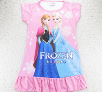 TuTu Summer Pleated Brand New Fashion Summer Kids Frozen Dress Cartoon Elsa Anna Princess Picture Baby Girl Homewear Dresses Pajamas Children Frozen Dress