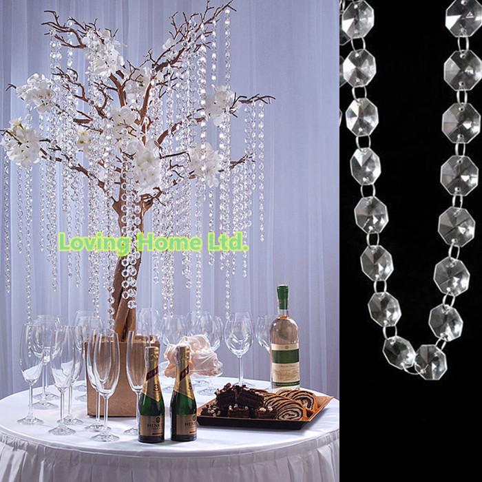33 ft diy octagonal plastic crystal beaded garland strands for Plastic chandeliers for parties