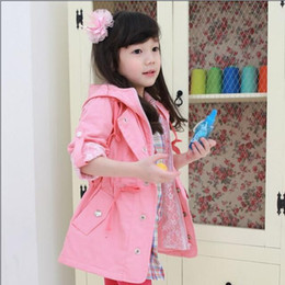 Wholesale New Arrival Girls Floral Lining Hoody Wind Coat Children Clothing Kids Long Sleeve Tops Girl Outwear Coat Color I1654