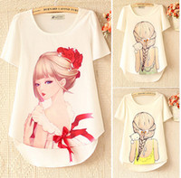 beauty free sleeves - 2014 womens tops fashion women s wild beauty pattern printed round neck short sleeve blouse