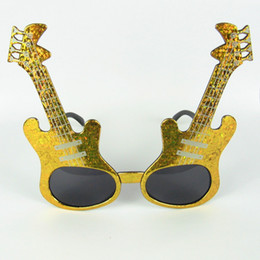 Novelties Party Eyeglasses Party Club Eyewear Guitar Eyeglasses Party Accessories Gold And Silver 40pcs lot Free Shipment