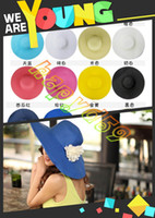 Wide Brim Hat new Yarn Dyed FREE SHIP fashion lady hollow summer hats UV sun cap womanbeach visor hat large brimmed straw hat foldable Wide Brim Hats 16color choosing