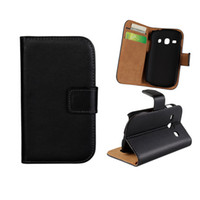 Wholesale Genuine Real Book Leather Wallet Case Cover Credit Card Holder Stand For Samsung Galaxy fame S6810