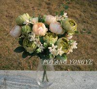 Christmas silk peony - New European Peony Bouquet Artificial Peony Silk Flowers Home Decor Wedding Party Decoration Heads Bouquet