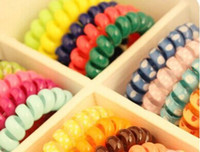 Wholesale Candy color printing telephone line hair ring hair hair ring Hair band rainbow clips rope Korean jewelry headdress gluten Shengpi
