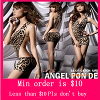 Wholesale Min Order Mix underwear order HOT NEW Sexy Women s Halter Backless Leopard Dress Lingerie Nightdress