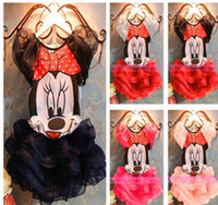 Wholesale set color new kids girl s Children s lace yarn Mickey Minnie t shirt skrit set year tz379