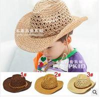 Boy Summer Visor Baby kids 2014 fashion handmade straw cowboy hat for children (3 colors),10pcs lot,dandys