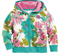 Wholesale set new kids Children s Girls flowers hooded Zipper jackets GC2
