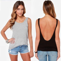 Wholesale New Summer Fashion Women Back Deep V Sexy Backless Sleeveless Vest Tank Casual Tops Blouses Hot