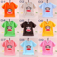 Unisex Summer Standard Free transport 3 piece lot girl boy baby short sleeve T-shirt T-shirt chest there is a monkey pattern NANTONGR003