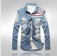 Men american vintage shirts - Men Shirt American Flag Denim Shirt For Male Vintage Long Sleeve Shirt Silm Fit Fashion Trend