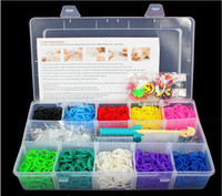 clear plastic gift boxes - 2014 Rainbow loom kit clear plastic box for Kids DIY bracelets Bands hooks rainbow loom Clip Charms Kids Gift