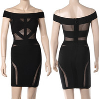 Wholesale 2014 Bodycon dress in Europe and America hollow black mesh bandage dress sexy party dress evening dress runway dress