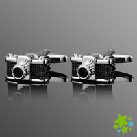 Wholesale New Novelty Black Leica Camera Shape Men Cufflinks for Groom Men Formal Shirt Cuff Link Sleeve Nail Metal Buttons Special Gift for Groom