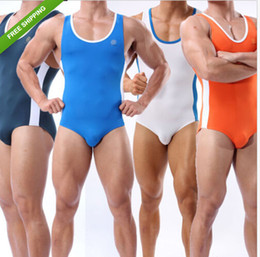 Wholesale Sports Men s Singlet Sportswear Beachwear Body Building Underwear Bikini Shirt Swimwear Rash guards Leotard Fitness Swim Vest Athle jumpsuit