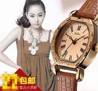 Wholesale womens fashion Antique leather watch dress T shirt women watch girl dress watches leather watch pupular watch skeleton watch