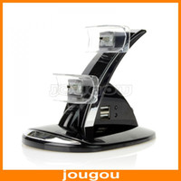 Wholesale LED Dual USB Charging Dock Station Stand For Playstation PS3 Game Controller Charger Free Fast DHL Shipping